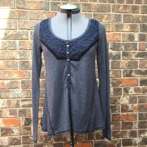 Free People gray Henley with navy embroidery, L